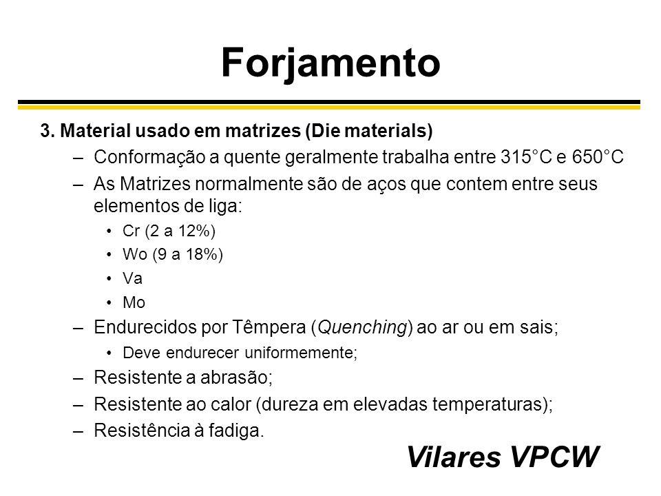 Forjamento 3. Material usado em matrizes (Die materials) –Conformação a quente geralmente trabalha entre 315°C e 650°C –As Matrizes normalmente são de