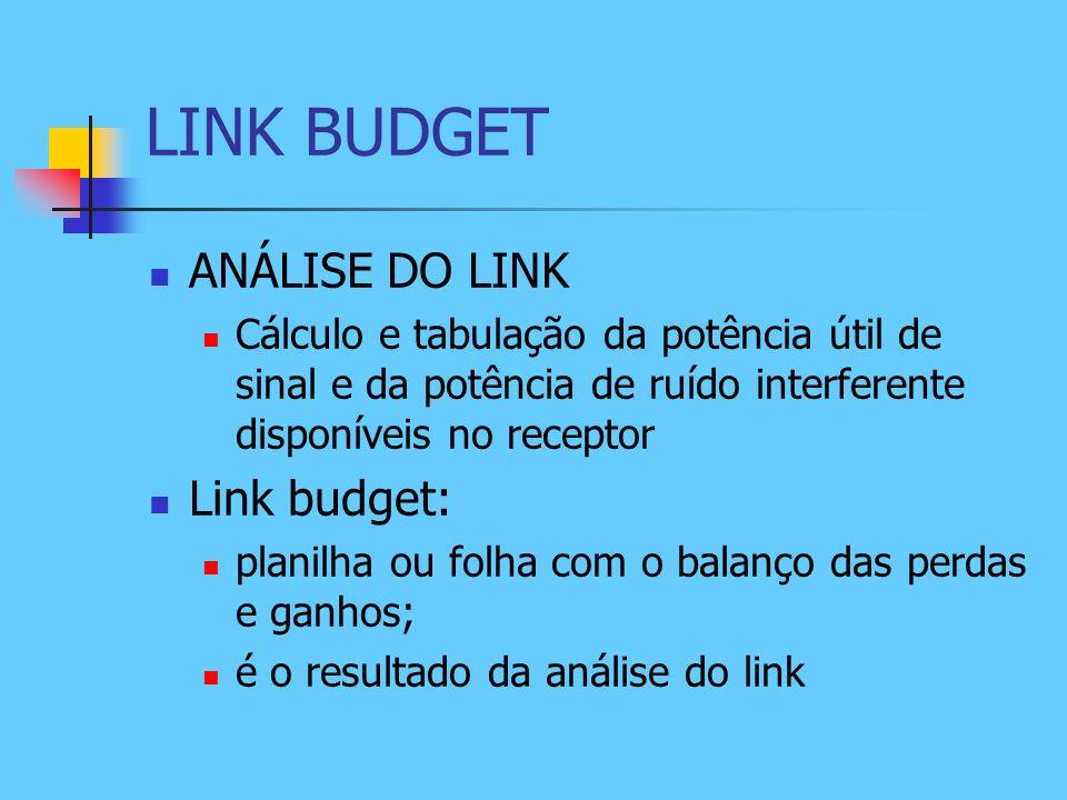 LINK BUDGET ANÁLISE DO LINK Cálculo e tabulação da potência útil de sinal e da potência de ruído interferente disponíveis no receptor Link budget: pla