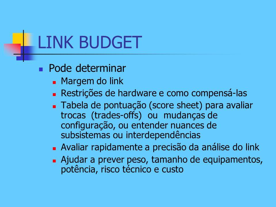 LINK BUDGET Pode determinar Margem do link Restrições de hardware e como compensá-las Tabela de pontuação (score sheet) para avaliar trocas (trades-of