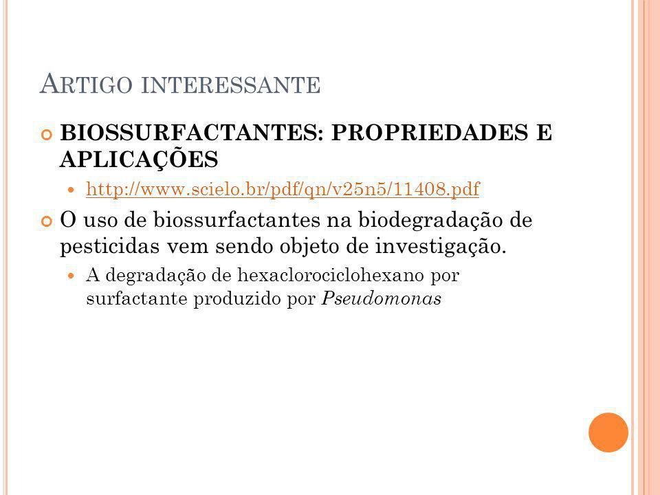A RTIGO INTERESSANTE BIOSSURFACTANTES: PROPRIEDADES E APLICAÇÕES http://www.scielo.br/pdf/qn/v25n5/11408.pdf O uso de biossurfactantes na biodegradaçã