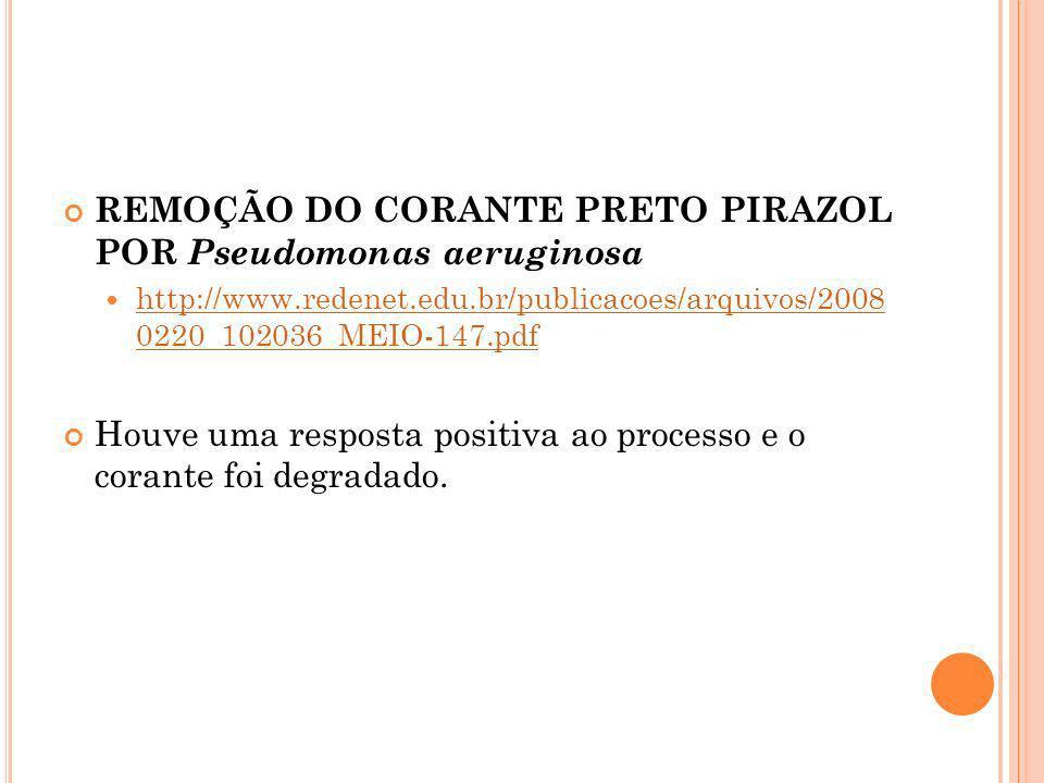 REMOÇÃO DO CORANTE PRETO PIRAZOL POR Pseudomonas aeruginosa http://www.redenet.edu.br/publicacoes/arquivos/2008 0220_102036_MEIO-147.pdf http://www.re