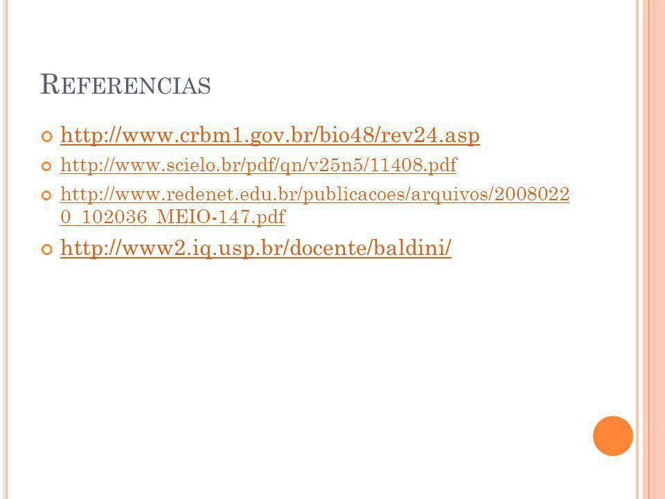 R EFERENCIAS http://www.crbm1.gov.br/bio48/rev24.asp http://www.scielo.br/pdf/qn/v25n5/11408.pdf http://www.redenet.edu.br/publicacoes/arquivos/200802