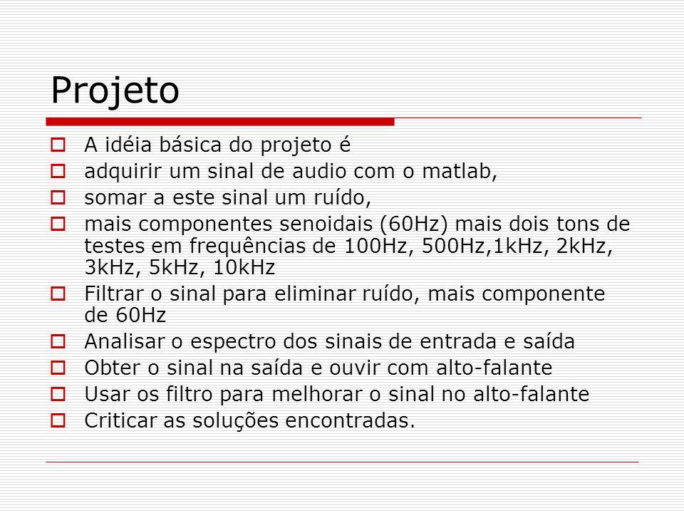 Projeto A idéia básica do projeto é adquirir um sinal de audio com o matlab, somar a este sinal um ruído, mais componentes senoidais (60Hz) mais dois