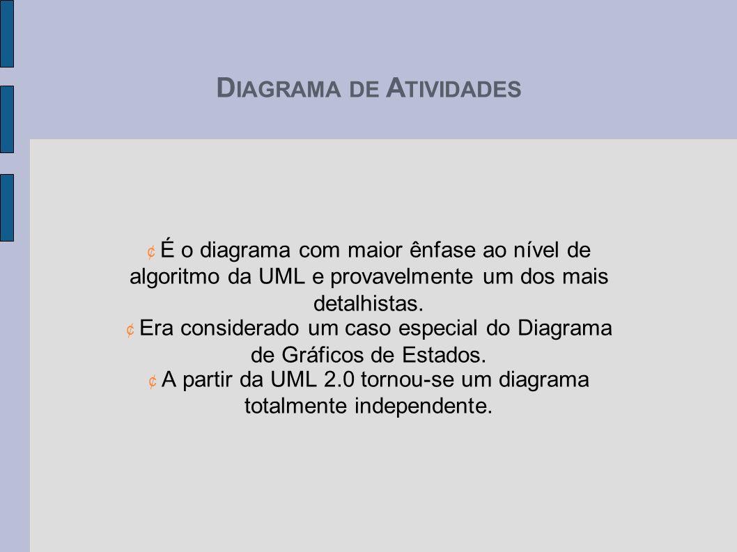 D IAGRAMA DE A TIVIDADES ¢ É o diagrama com maior ênfase ao nível de algoritmo da UML e provavelmente um dos mais detalhistas. ¢ Era considerado um ca