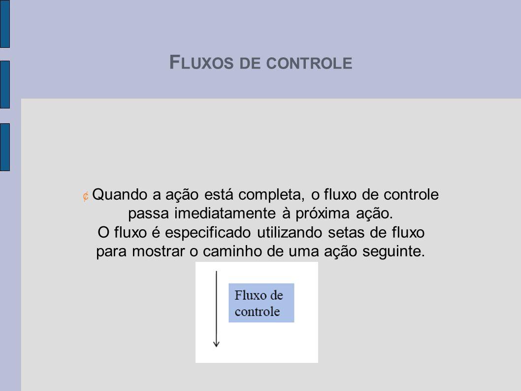 F LUXOS DE CONTROLE ¢ Quando a ação está completa, o fluxo de controle passa imediatamente à próxima ação. O fluxo é especificado utilizando setas de