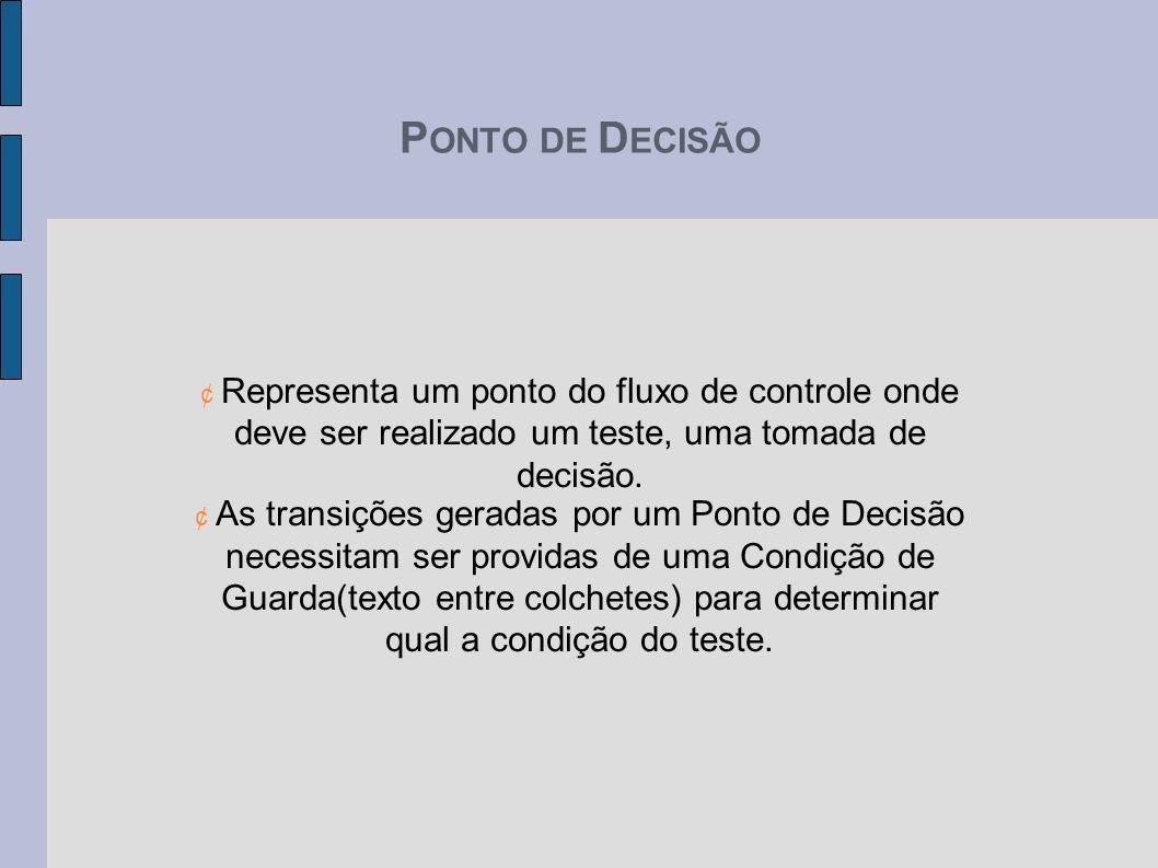 P ONTO DE D ECISÃO ¢ Representa um ponto do fluxo de controle onde deve ser realizado um teste, uma tomada de decisão. ¢ As transições geradas por um