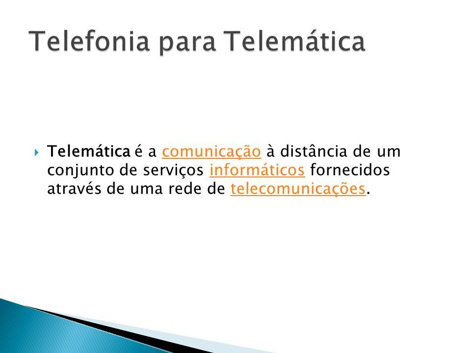 Telemática é a comunicação à distância de um conjunto de serviços informáticos fornecidos através de uma rede de telecomunicações.comunicaçãoinformáti