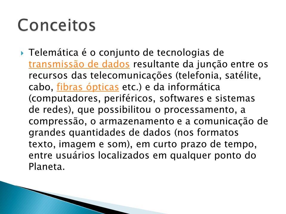 Telemática é o conjunto de tecnologias de transmissão de dados resultante da junção entre os recursos das telecomunicações (telefonia, satélite, cabo,