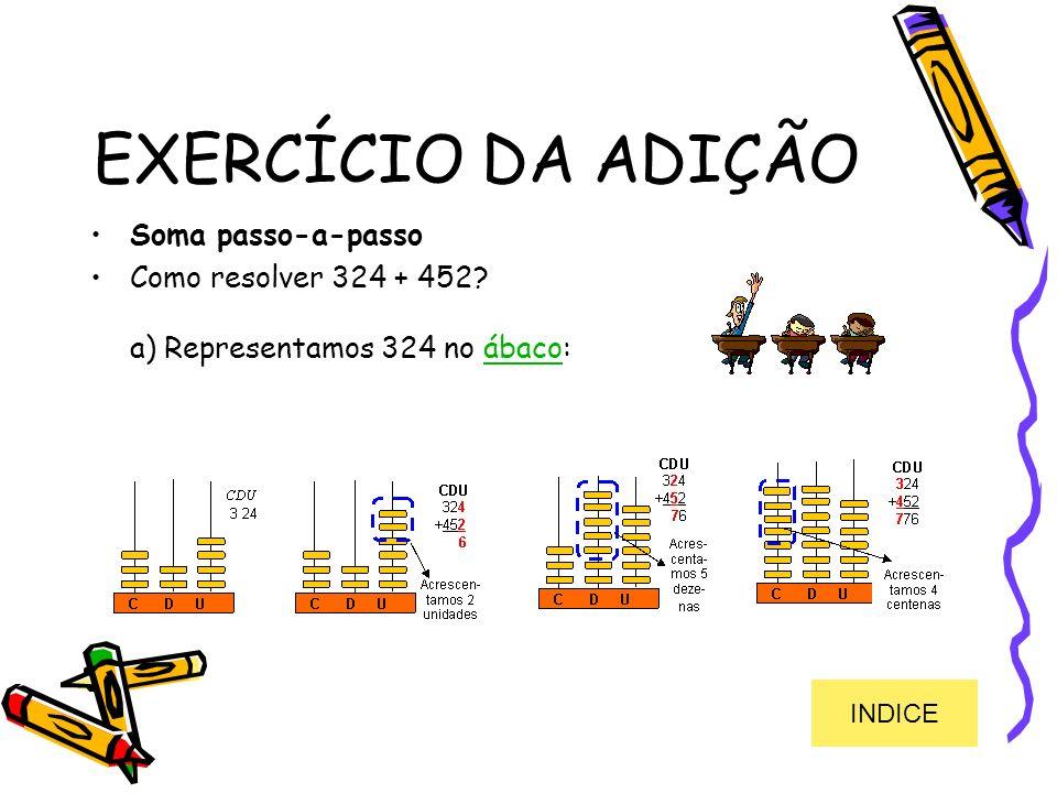EXERCÍCIO DA ADIÇÃO Soma passo-a-passo Como resolver 324 + 452? a) Representamos 324 no ábaco:ábaco INDICE