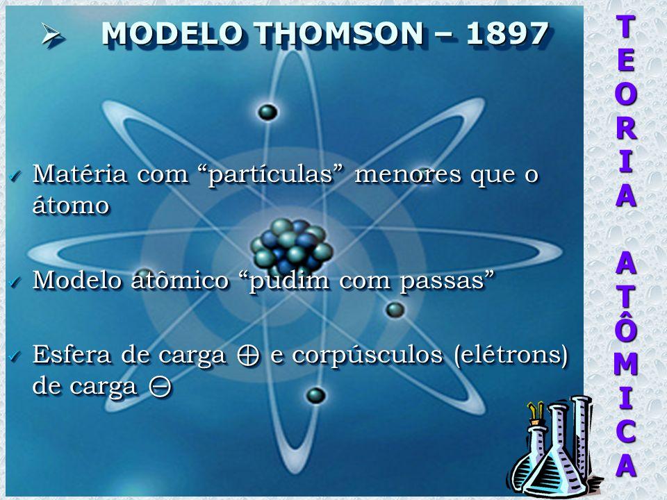 TEORIAATÔMICA MODELO THOMSON – 1897 MODELO THOMSON – 1897 Matéria com partículas menores que o átomo Matéria com partículas menores que o átomo Modelo atômico pudim com passas Modelo atômico pudim com passas Esfera de carga e corpúsculos (elétrons) de carga Esfera de carga e corpúsculos (elétrons) de carga Matéria com partículas menores que o átomo Matéria com partículas menores que o átomo Modelo atômico pudim com passas Modelo atômico pudim com passas Esfera de carga e corpúsculos (elétrons) de carga Esfera de carga e corpúsculos (elétrons) de carga