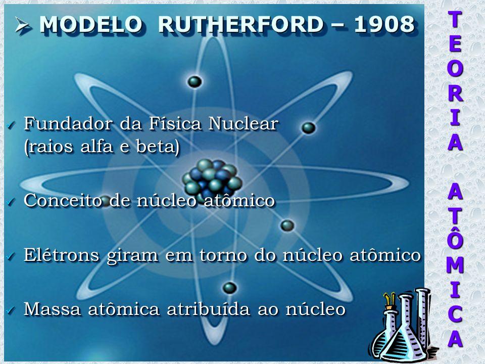 TEORIAATÔMICA MODELO BOHR – 1920 (colega de Rutherford) MODELO BOHR – 1920 (colega de Rutherford) Elétrons em órbitas específicas Elétrons em órbitas específicas Níveis energéticos distintos Níveis energéticos distintos Mudança de órbita = emissão / absorção de energia (quanta) Mudança de órbita = emissão / absorção de energia (quanta) Propriedades químicas = camada mais externa da eletrosfera Propriedades químicas = camada mais externa da eletrosfera Elétrons em órbitas específicas Elétrons em órbitas específicas Níveis energéticos distintos Níveis energéticos distintos Mudança de órbita = emissão / absorção de energia (quanta) Mudança de órbita = emissão / absorção de energia (quanta) Propriedades químicas = camada mais externa da eletrosfera Propriedades químicas = camada mais externa da eletrosfera