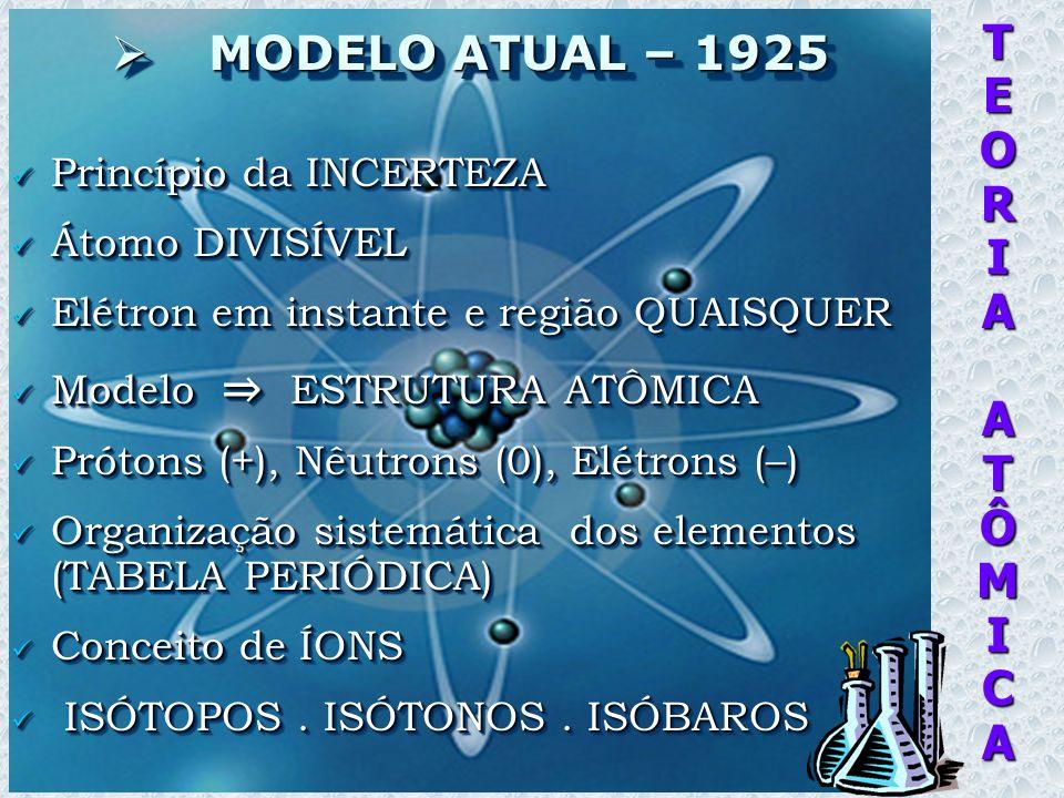 TEORIAATÔMICA MODELO ATUAL – 1925 MODELO ATUAL – 1925 Princípio da INCERTEZA Princípio da INCERTEZA Átomo DIVISÍVEL Átomo DIVISÍVEL Elétron em instante e região QUAISQUER Elétron em instante e região QUAISQUER Modelo ESTRUTURA ATÔMICA Modelo ESTRUTURA ATÔMICA Prótons (+), Nêutrons (0), Elétrons (–) Prótons (+), Nêutrons (0), Elétrons (–) Organização sistemática dos elementos (TABELA PERIÓDICA) Organização sistemática dos elementos (TABELA PERIÓDICA) Conceito de ÍONS Conceito de ÍONS ISÓTOPOS.
