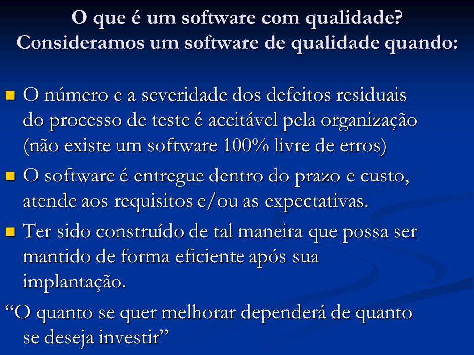 O que é um software com qualidade? Consideramos um software de qualidade quando: O número e a severidade dos defeitos residuais do processo de teste é