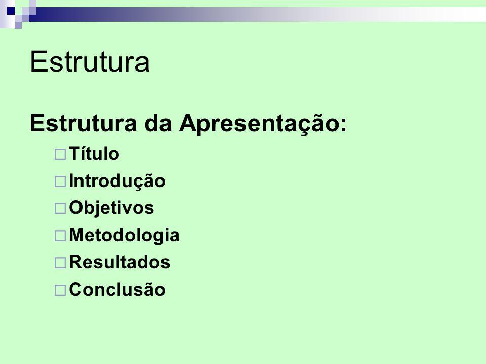 Estrutura Estrutura da Apresentação: Título Introdução Objetivos Metodologia Resultados Conclusão