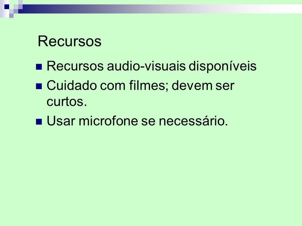 Recursos audio-visuais disponíveis Cuidado com filmes; devem ser curtos. Usar microfone se necessário. Recursos
