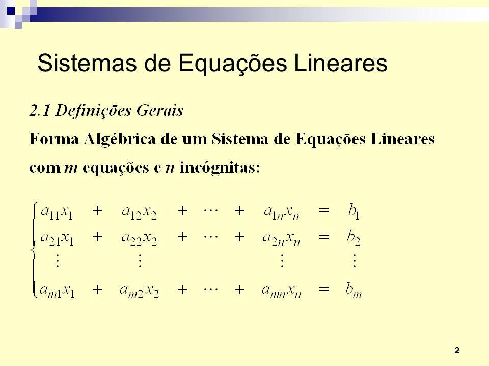 2 Sistemas de Equações Lineares
