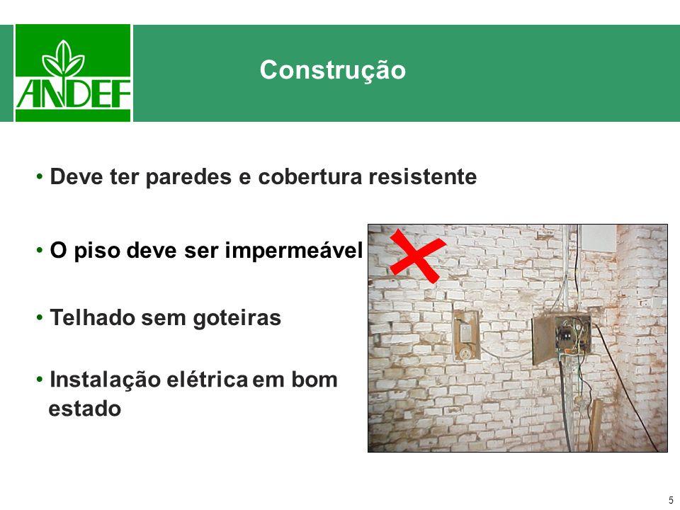5 Deve ter paredes e cobertura resistente O piso deve ser impermeável Telhado sem goteiras Construção Instalação elétrica em bom estado