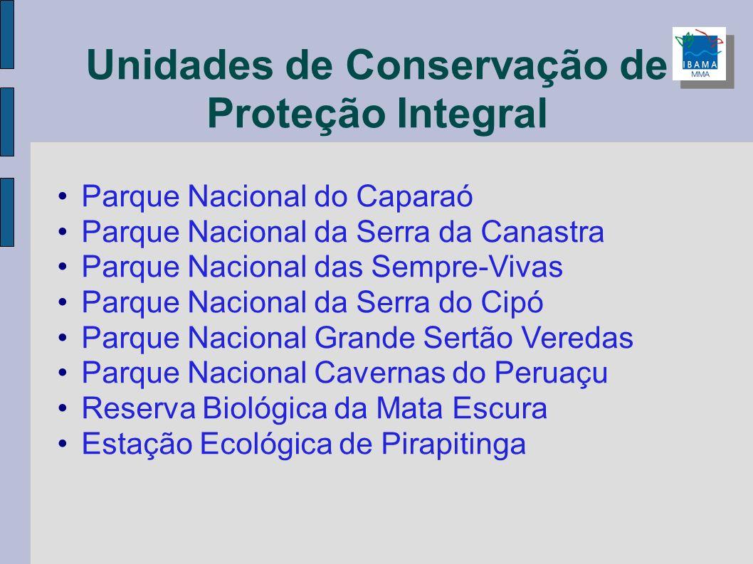 Unidades de Conservação de Proteção Integral Parque Nacional do Caparaó Parque Nacional da Serra da Canastra Parque Nacional das Sempre-Vivas Parque N