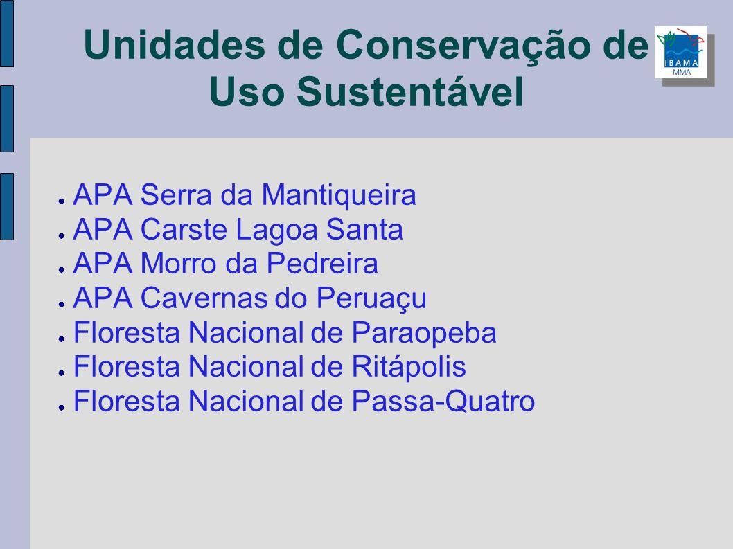 Unidades de Conservação de Uso Sustentável APA Serra da Mantiqueira APA Carste Lagoa Santa APA Morro da Pedreira APA Cavernas do Peruaçu Floresta Naci