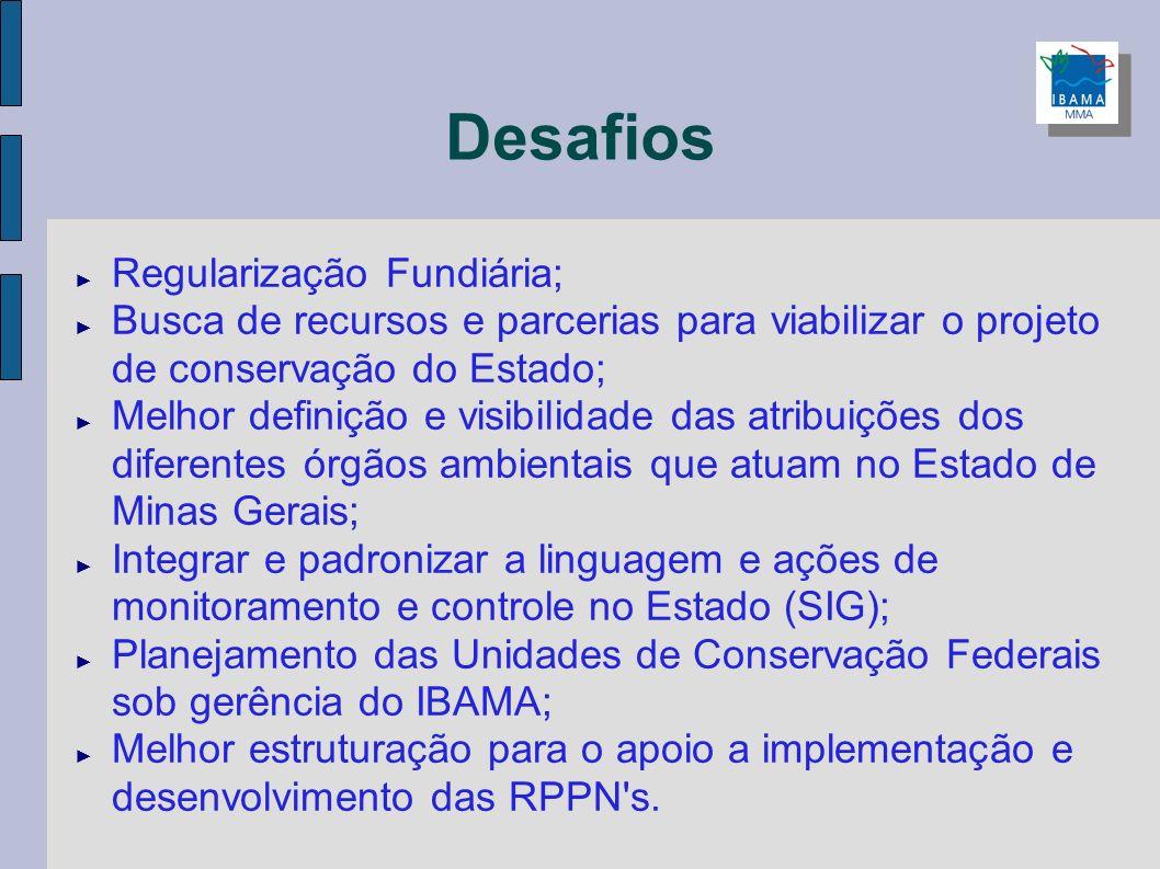Desafios Regularização Fundiária; Busca de recursos e parcerias para viabilizar o projeto de conservação do Estado; Melhor definição e visibilidade da