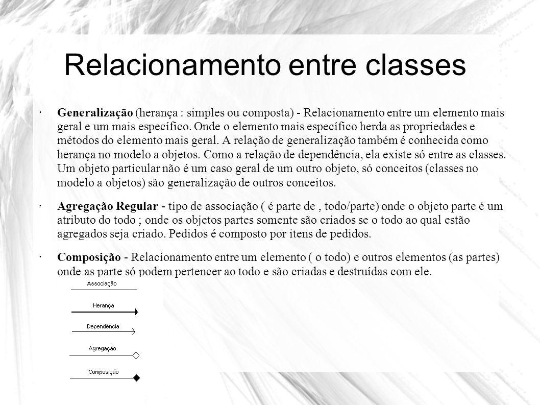 Relacionamento entre classes ·Generalização (herança : simples ou composta) - Relacionamento entre um elemento mais geral e um mais específico. Onde o