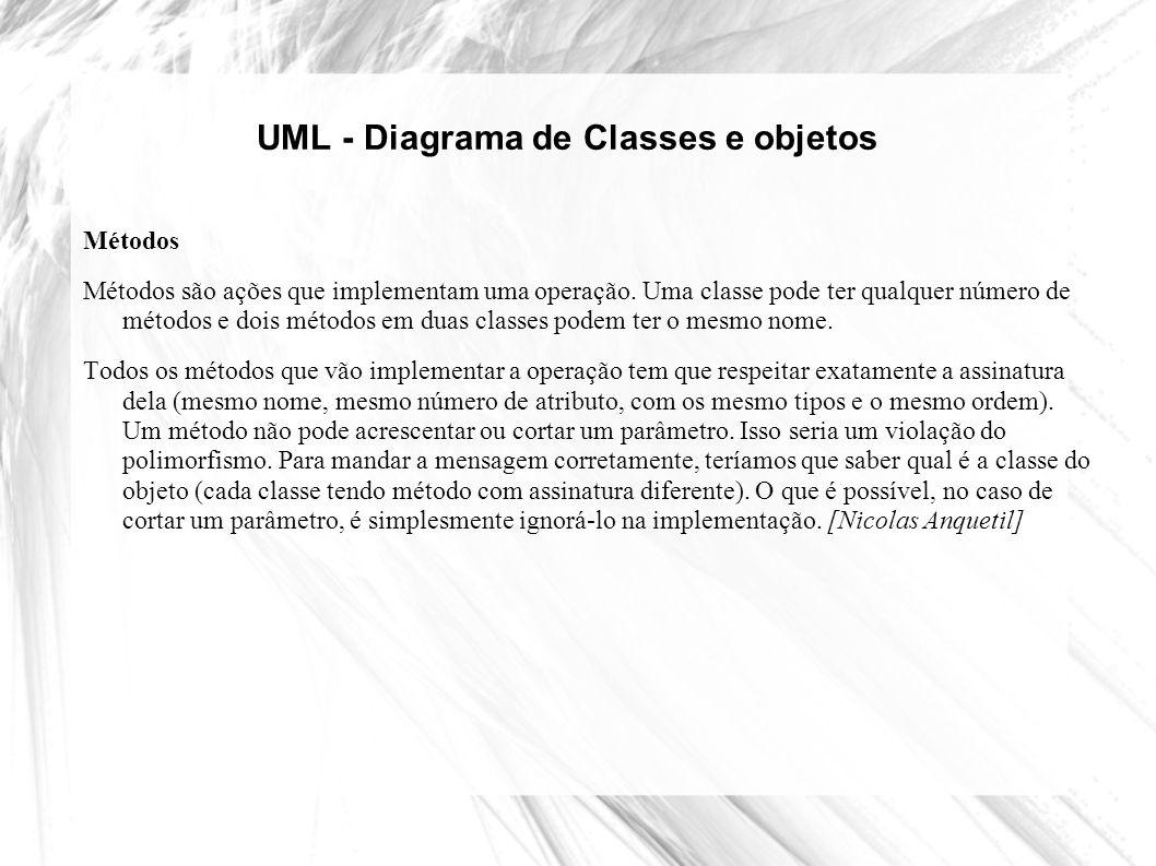 UML - Diagrama de Classes e objetos Métodos Métodos são ações que implementam uma operação. Uma classe pode ter qualquer número de métodos e dois méto