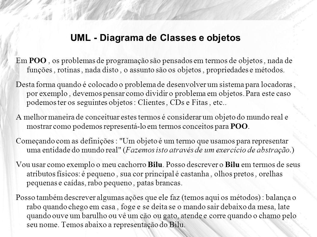 UML - Diagrama de Classes e objetos Atributo Um atributo representa uma propriedade que todos os objetos da classe têm (por exemplo, todos os cachorros tem pelo, orelhas, altura,,etc.
