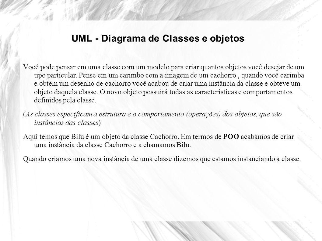 UML - Diagrama de Classes e objetos Você pode pensar em uma classe com um modelo para criar quantos objetos você desejar de um tipo particular. Pense