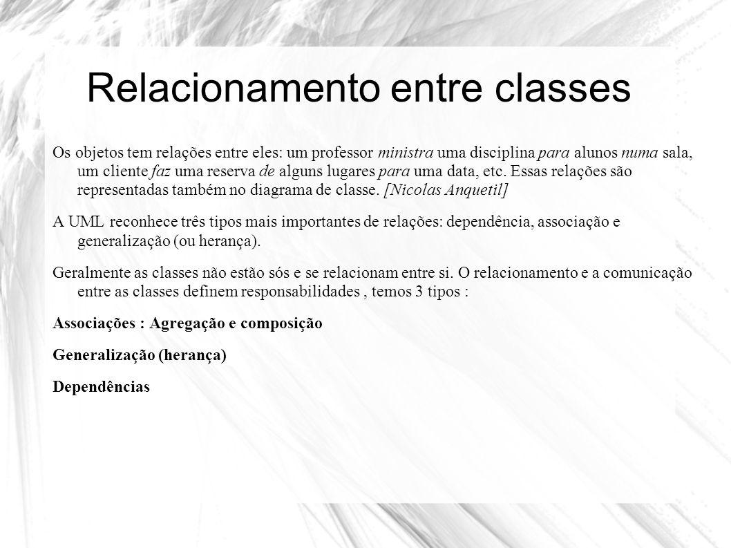 Relacionamento entre classes As representações usam a seguinte notação : ·Associação : São relacionamentos estruturais entre instâncias e especificam que objetos de uma classe estão ligados a objetos de outras classes.