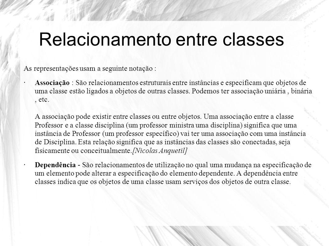 Relacionamento entre classes As representações usam a seguinte notação : ·Associação : São relacionamentos estruturais entre instâncias e especificam