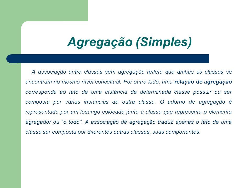 Agregação (Simples) A associação entre classes sem agregação reflete que ambas as classes se encontram no mesmo nível conceitual.