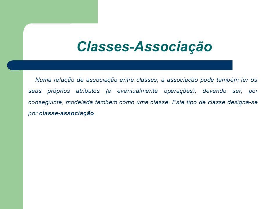 Classes-Associação Numa relação de associação entre classes, a associação pode também ter os seus próprios atributos (e eventualmente operações), devendo ser, por conseguinte, modelada também como uma classe.
