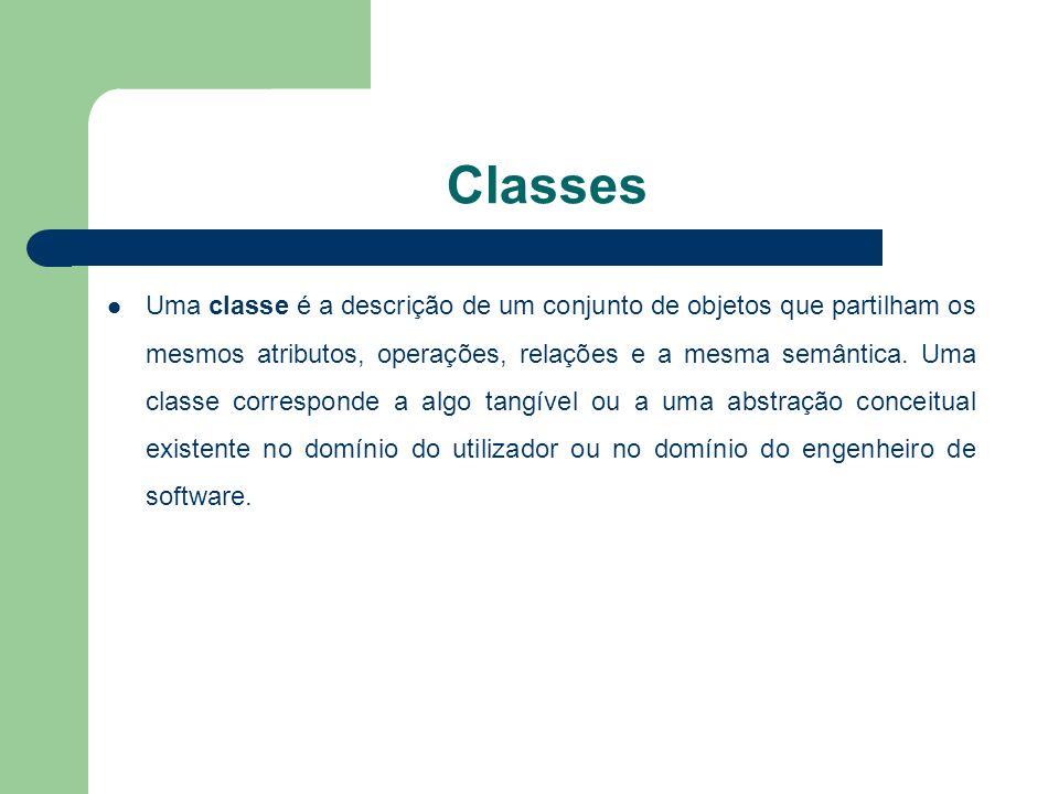 Classes Uma classe é a descrição de um conjunto de objetos que partilham os mesmos atributos, operações, relações e a mesma semântica.