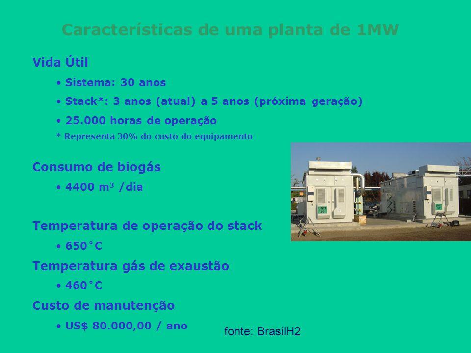 Características de uma planta de 1MW Vida Útil Sistema: 30 anos Stack*: 3 anos (atual) a 5 anos (próxima geração) 25.000 horas de operação * Represent