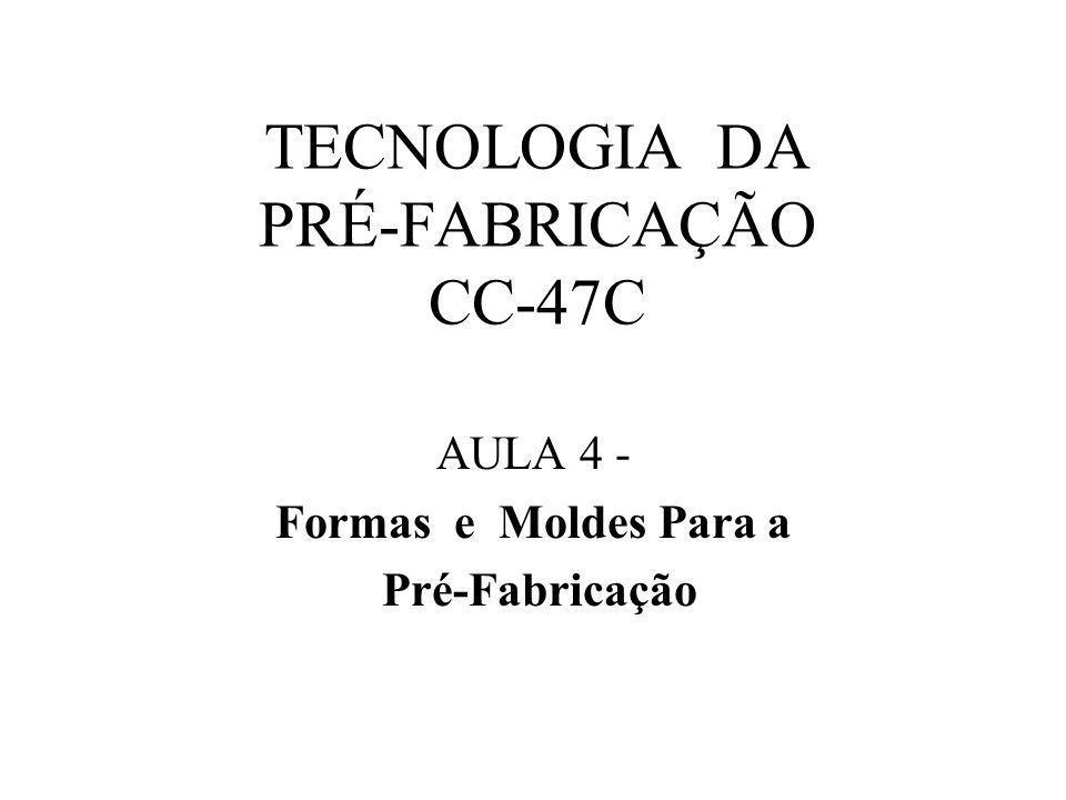 TECNOLOGIA DA PRÉ-FABRICAÇÃO CC-47C AULA 4 - Formas e Moldes Para a Pré-Fabricação