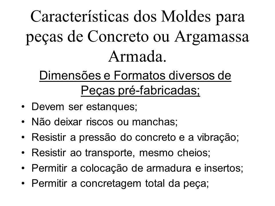Características dos Moldes para peças de Concreto ou Argamassa Armada. Dimensões e Formatos diversos de Peças pré-fabricadas; Devem ser estanques; Não