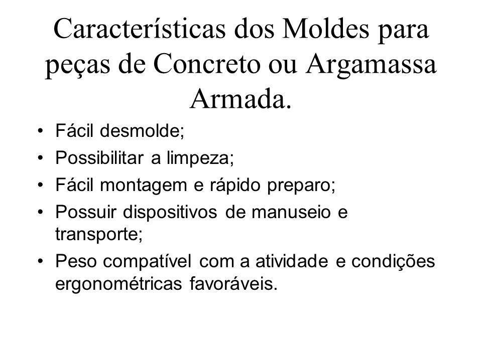 Características dos Moldes para peças de Concreto ou Argamassa Armada. Fácil desmolde; Possibilitar a limpeza; Fácil montagem e rápido preparo; Possui