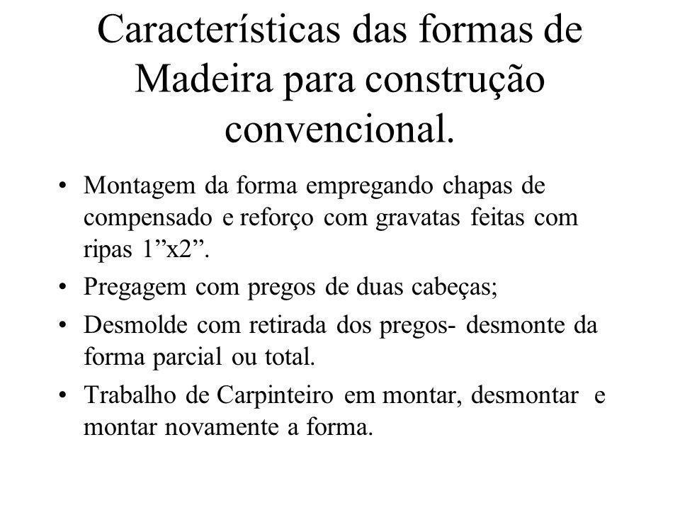 Características das formas de Madeira para construção convencional. Montagem da forma empregando chapas de compensado e reforço com gravatas feitas co
