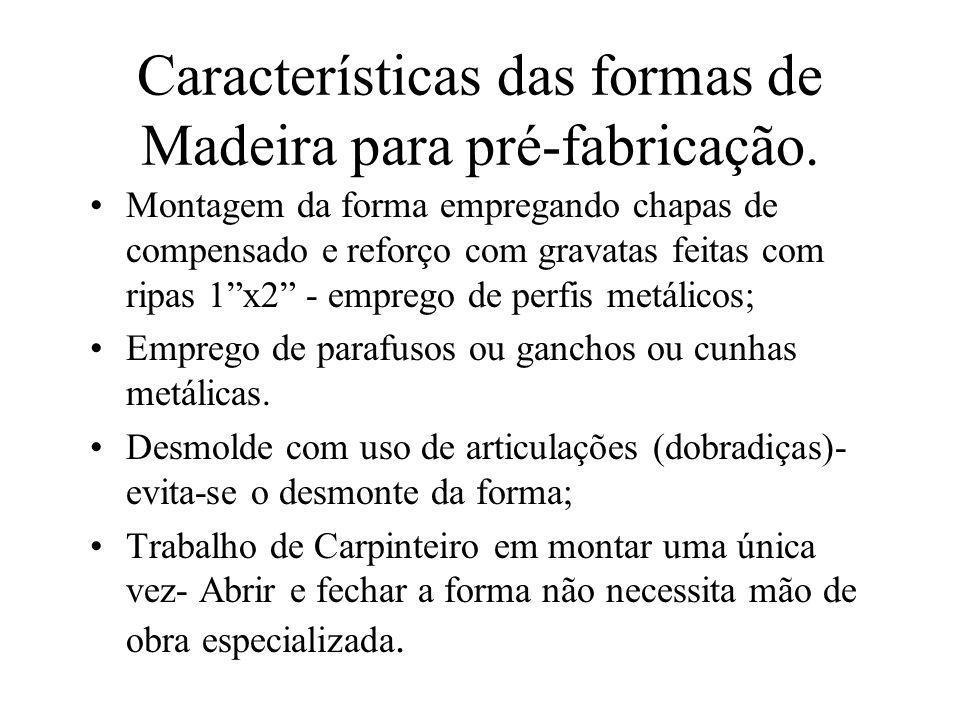 Características das formas de Madeira para pré-fabricação. Montagem da forma empregando chapas de compensado e reforço com gravatas feitas com ripas 1