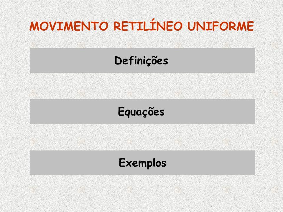 MOVIMENTO RETILÍNEO UNIFORME Definições Equações Exemplos