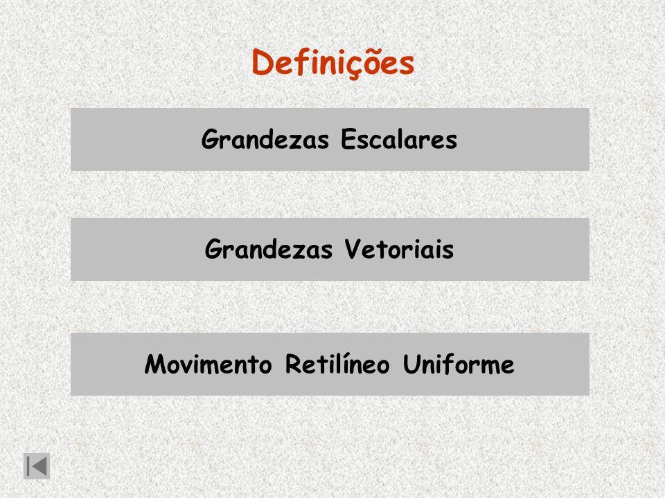 Definições Grandezas Escalares Grandezas Vetoriais Movimento Retilíneo Uniforme