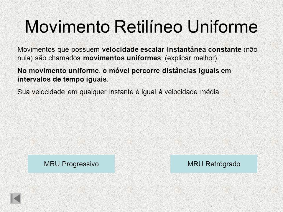 Movimento Retilíneo Uniforme Movimentos que possuem velocidade escalar instantânea constante (não nula) são chamados movimentos uniformes.