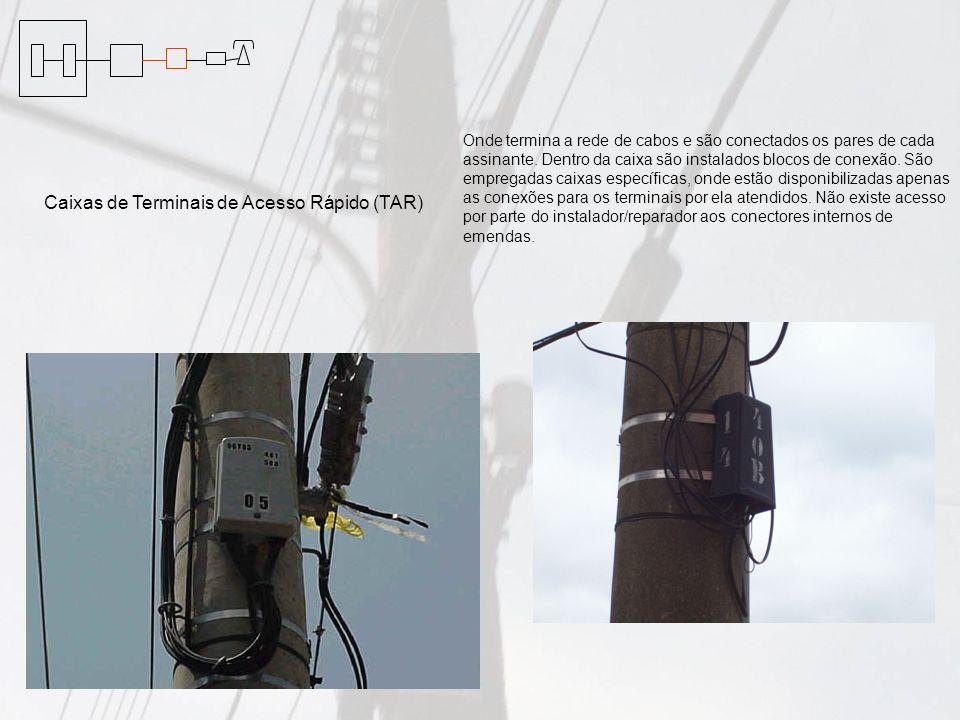 Onde termina a rede de cabos e são conectados os pares de cada assinante. Dentro da caixa são instalados blocos de conexão. São empregadas caixas espe