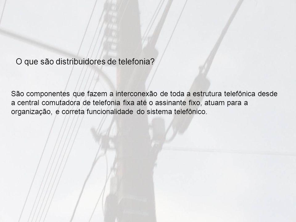 O que são distribuidores de telefonia? São componentes que fazem a interconexão de toda a estrutura telefônica desde a central comutadora de telefonia