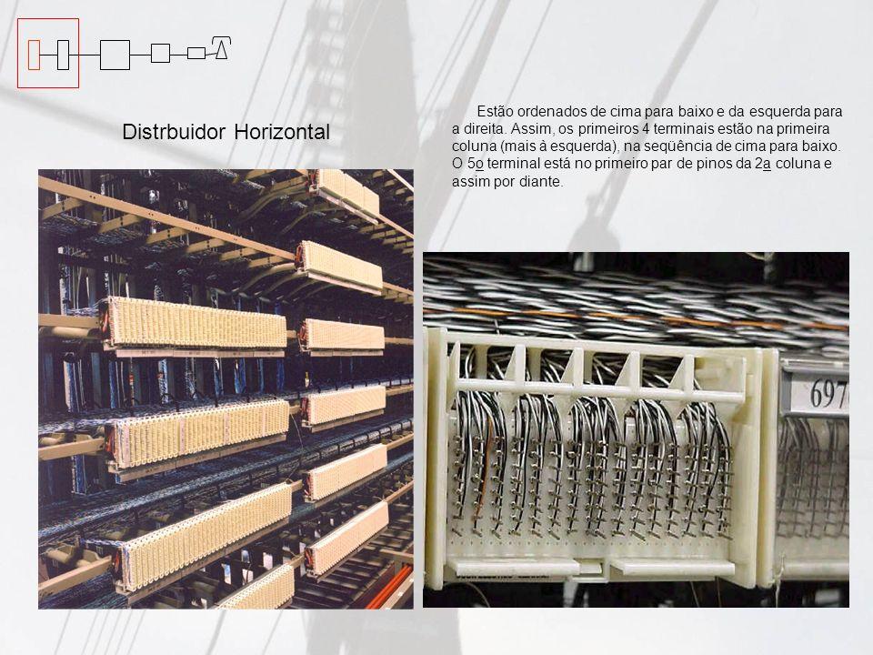 Distrbuidor Vertical É onde estão disponibilizados os pares do cabo telefônico da rede externa, Os cabos telefônicos estão conectados na parte posterior dos blocos, através de cabos que vão diretamente para a galeria de cabos, até o cabeçote de emendas.