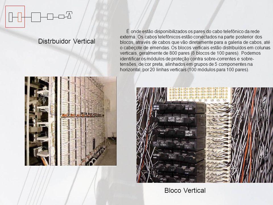 Distrbuidor Vertical É onde estão disponibilizados os pares do cabo telefônico da rede externa, Os cabos telefônicos estão conectados na parte posteri