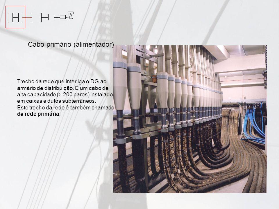 Cabo primário (alimentador) Trecho da rede que interliga o DG ao armário de distribuição. É um cabo de alta capacidade (> 200 pares) instalado em caix