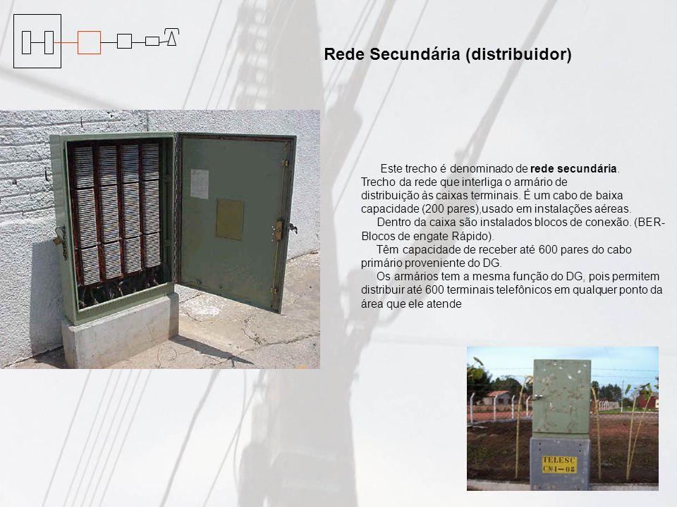Este trecho é denominado de rede secundária. Trecho da rede que interliga o armário de distribuição às caixas terminais. É um cabo de baixa capacidade