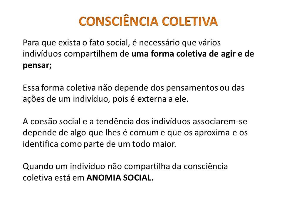 Para que exista o fato social, é necessário que vários indivíduos compartilhem de uma forma coletiva de agir e de pensar; Essa forma coletiva não depe