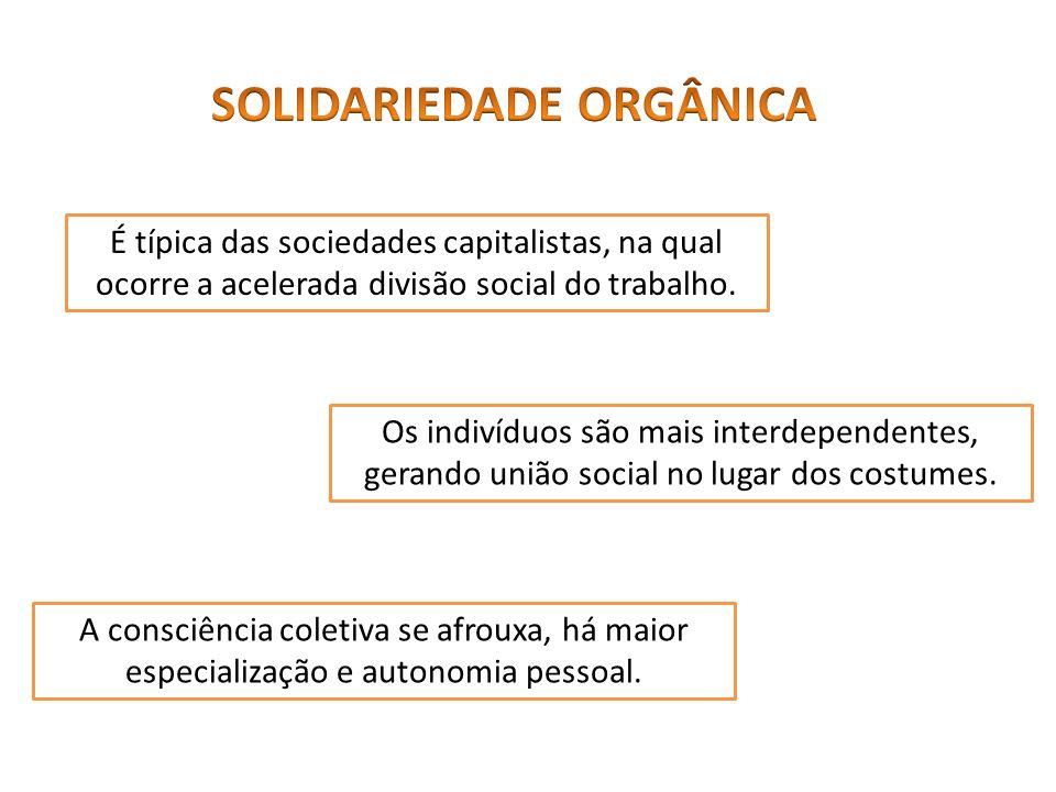 É típica das sociedades capitalistas, na qual ocorre a acelerada divisão social do trabalho. Os indivíduos são mais interdependentes, gerando união so